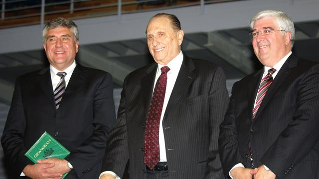 President Monson Elder Teixeira and Hamburg Stake President